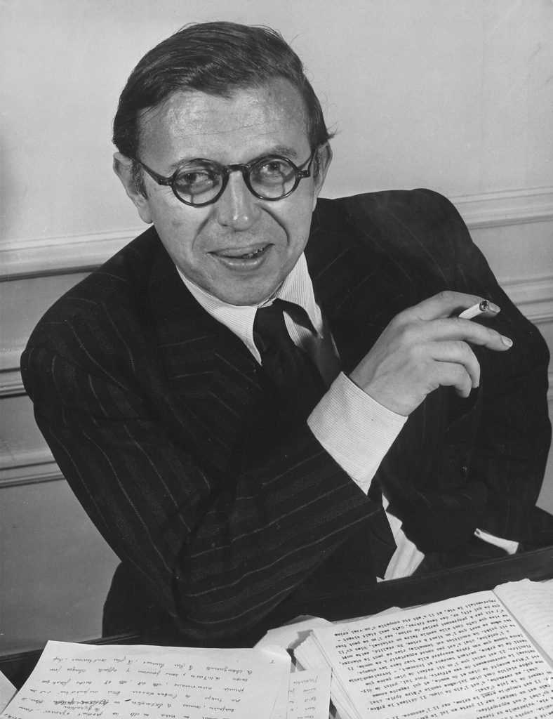 Jean-Paul Sartre at his home in Paris in 1946. He was awarded the Nobel Prize in Literature in 1964, but famously declined to accept it.
