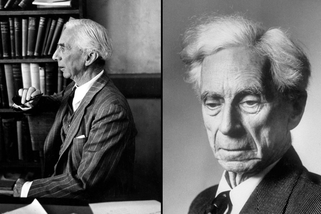 Philosopher Bertrand Russell at his desk at UCLA in 1940 (left), and in England in 1951 (right). He was awarded the Nobel Prize in Literature in 1950.