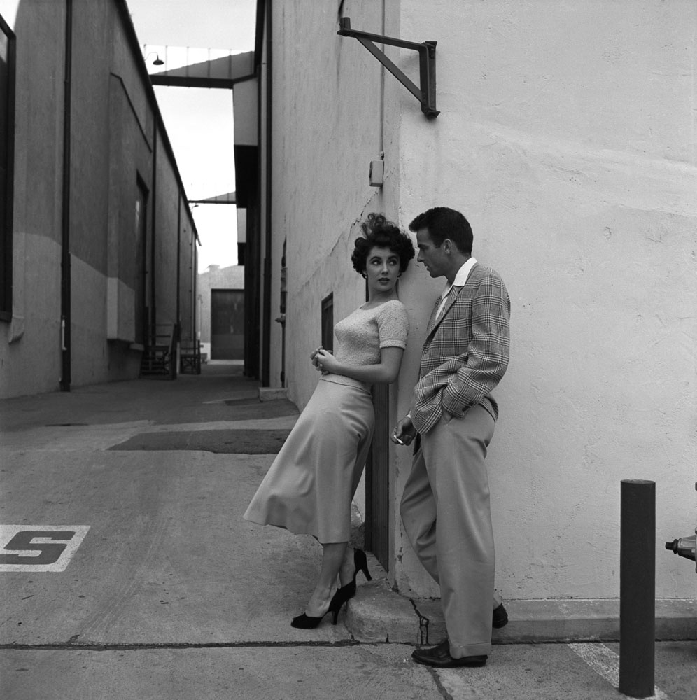 Elizabeth Taylor (all of 17 years old) and Montgomery Clift pose together at Paramount Studios during a break in filming A Place in the Sun.