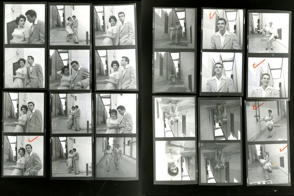 Contact sheets from LIFE photographer Peter Stackpole's shoot on a Paramount lot with Elizabeth Taylor and Montgomery Clift in 1950.
