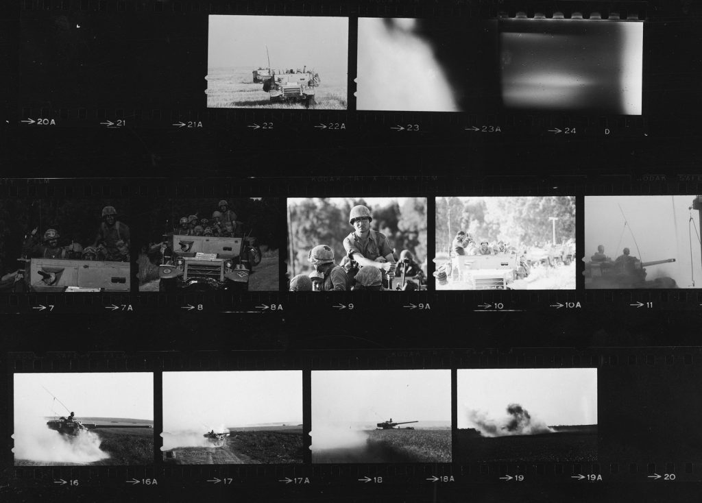 Contact sheet with last 6 strips of film found in LIFE photographer Paul Schutzer's camera after he was killed while traveling in a half-track with Israeli soldiers during the Six Day War in 1967.