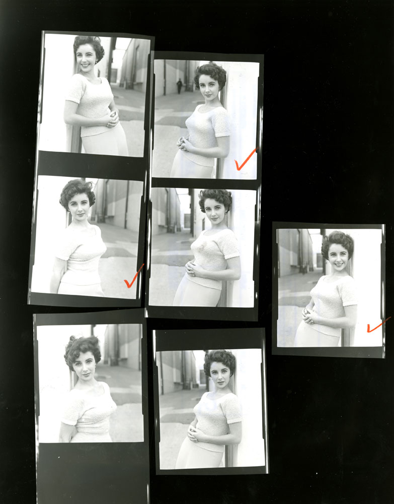 Contact sheet from LIFE photographer Peter Stackpole's shoot with Elizabeth Taylor and Montgomery Clift in 1950.