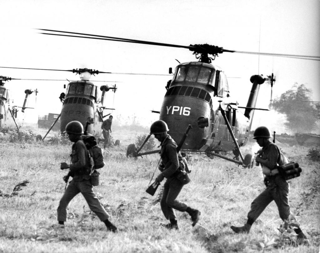 """A Larry Burrows photograph from Vietnam, March, 1965, not published in the original """"Yankee Papa 13"""" LIFE photo essay."""