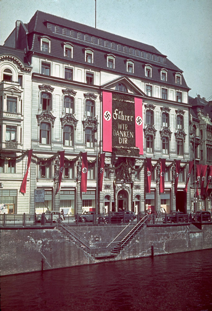 Banners hang from buildings in honor of Adolf Hitler's 50th birthday, Berlin, April 20, 1939.
