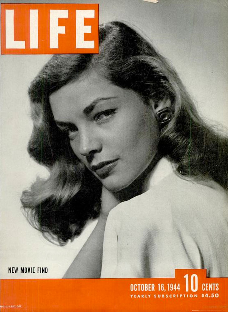 October 16, 1944 cover of LIFE magazine featuring Lauren Bacall.