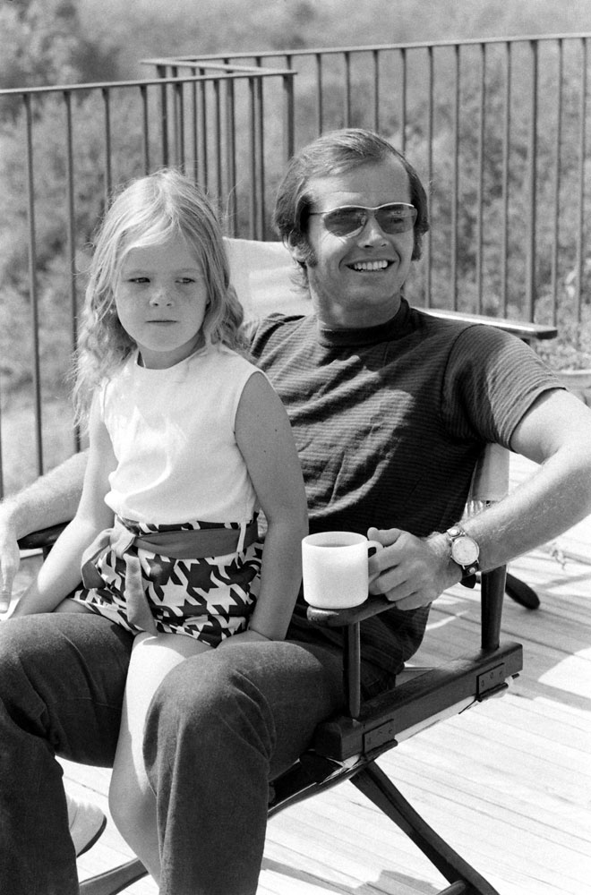 Jack Nicholson and his daughter, Jennifer, on the deck of his home overlooking Franklin Canyon, Los Angeles, 1969.