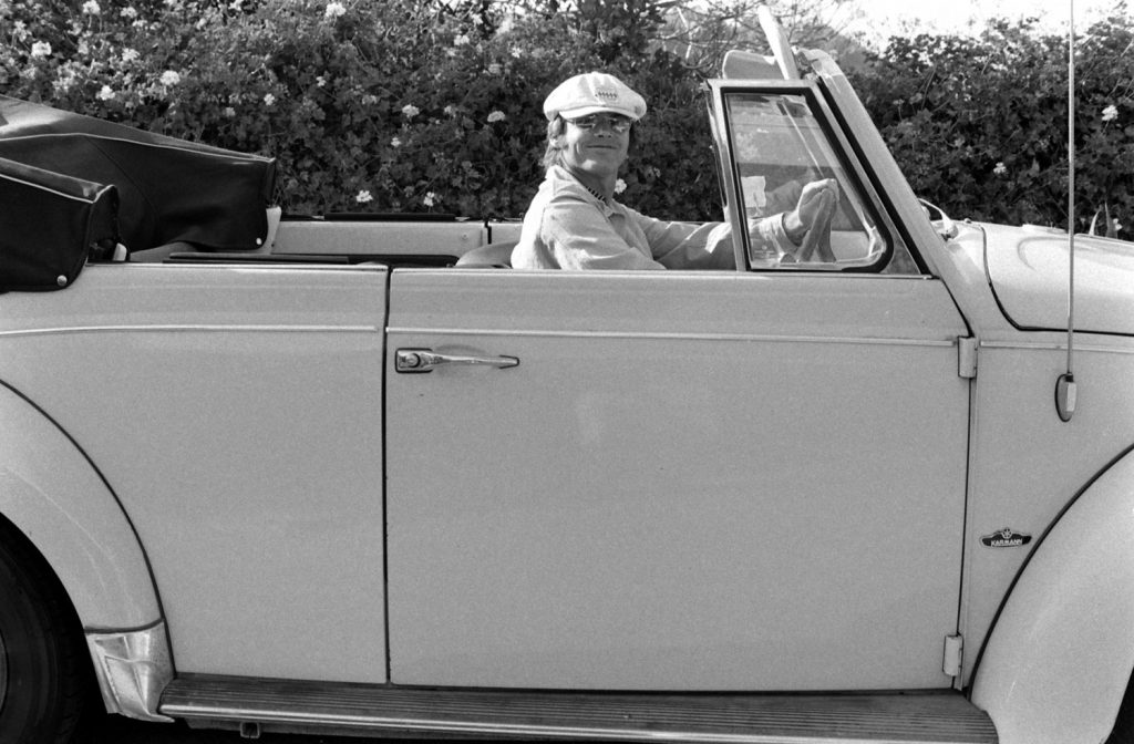 Jack Nicholson driving his Volkswagen convertible in 1969