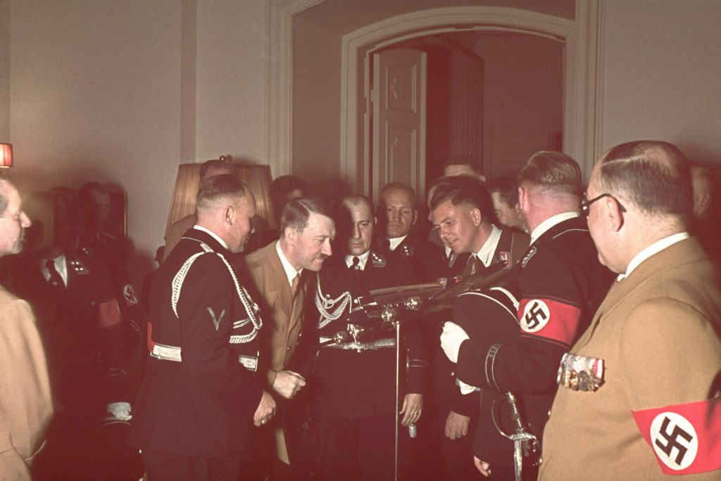 Adolf Hitler receives a model of a Condor airplane as a gift on his 50th birthday, Berlin, April 20, 1939.