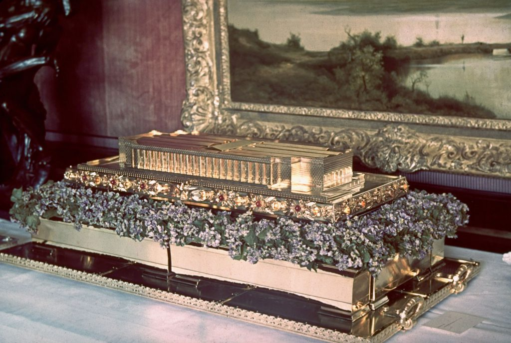 Solid gold model of the Haus der Deutschen Kunst (a celebrated German museum), a gift from Luftwaffe commander   and future suicide at the Nuremberg war crimes trials   Hermann Goering to Adolf Hitler on Hitler's 50th birthday, April 20, 1939.
