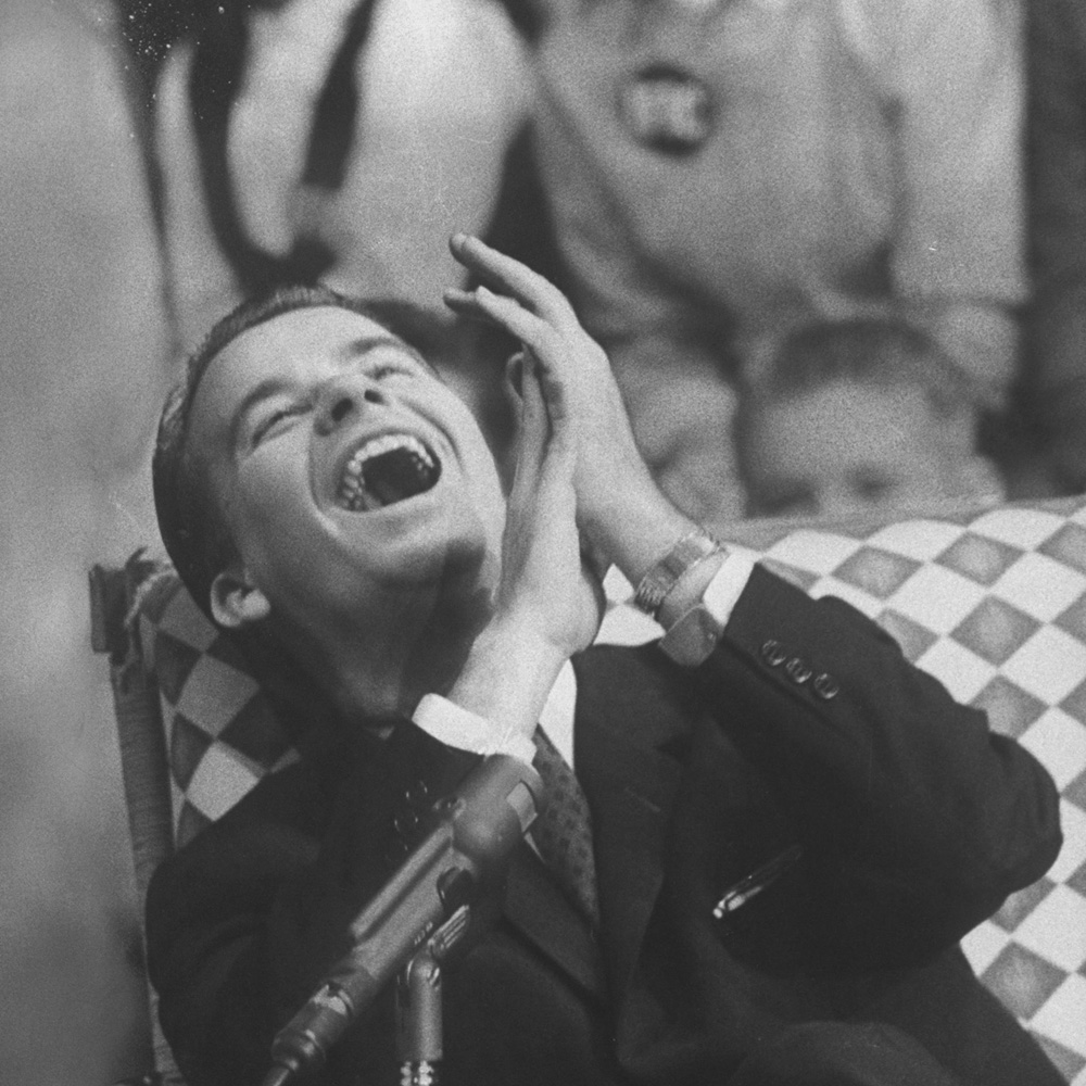 """Dick Clark on his TV show the """"American Bandstand"""" in 1958."""