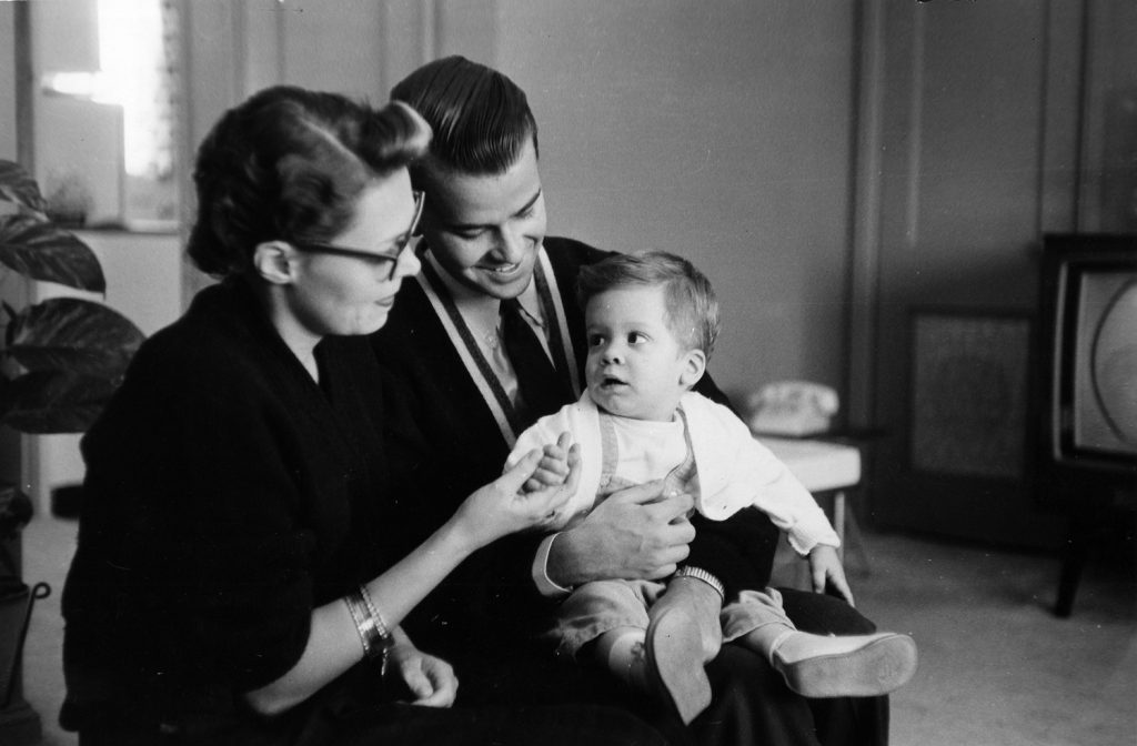 Dick Clark poses for a portrait with his wife Barbara and their son, Richard Clark, Jr., on May 13, 1958, in Philadelphia.
