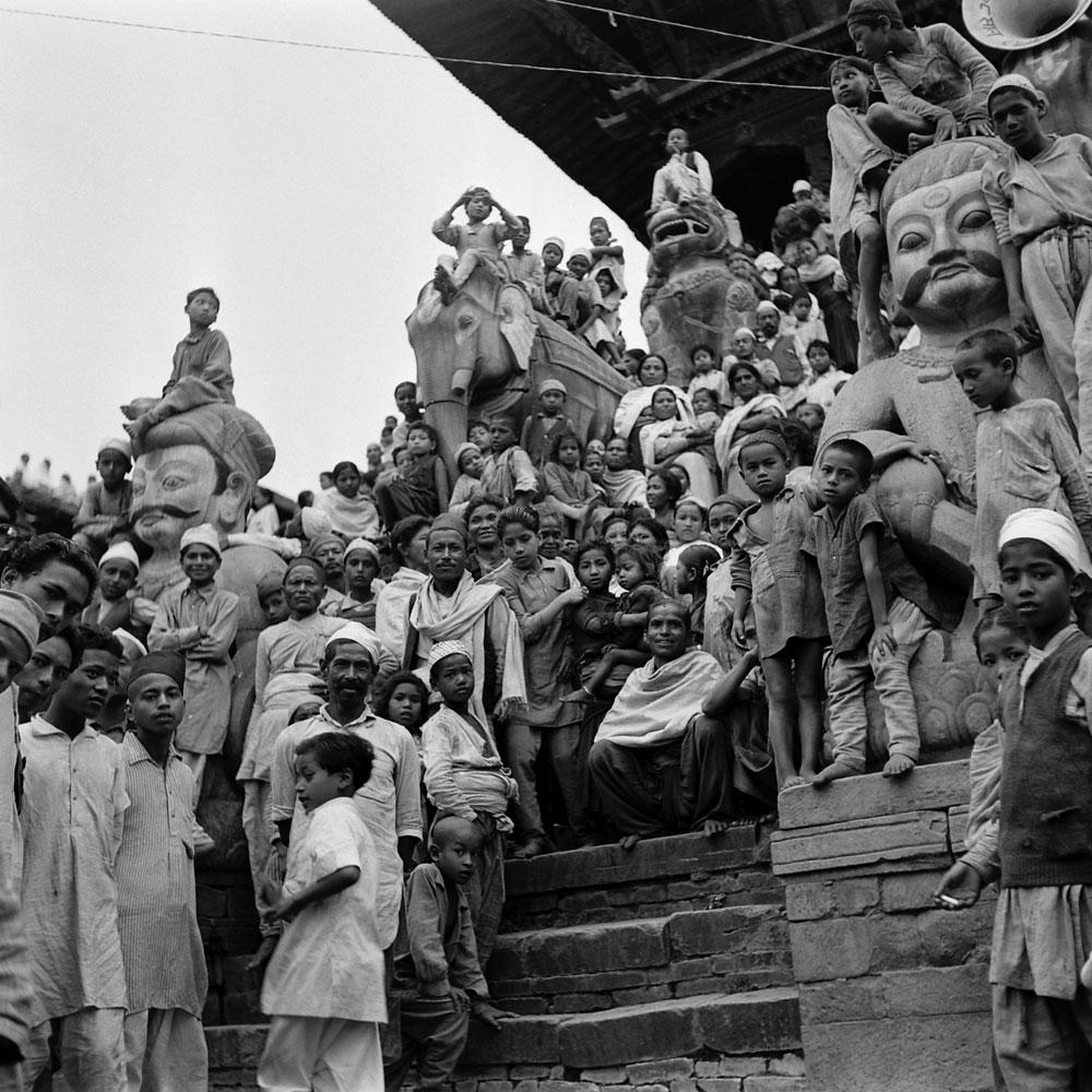 Nepalese greet Edmund Hillary and Tenzing Norgay, 1953.