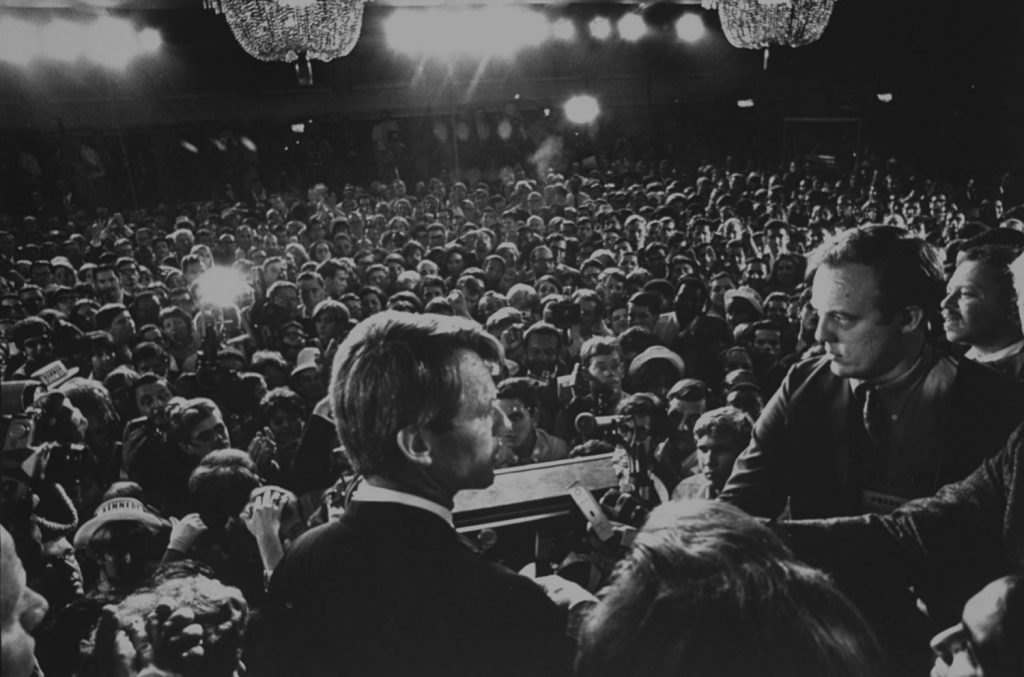 Sen. Robert Kennedy gives a speech at the Ambassador Hotel in Los Angeles before his assassination, June 1968.