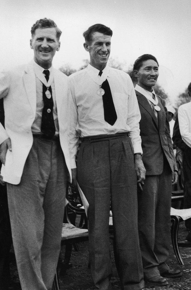 John Hunt, Edmund Hillary, Tenzing Norgay in Nepal, 1953.