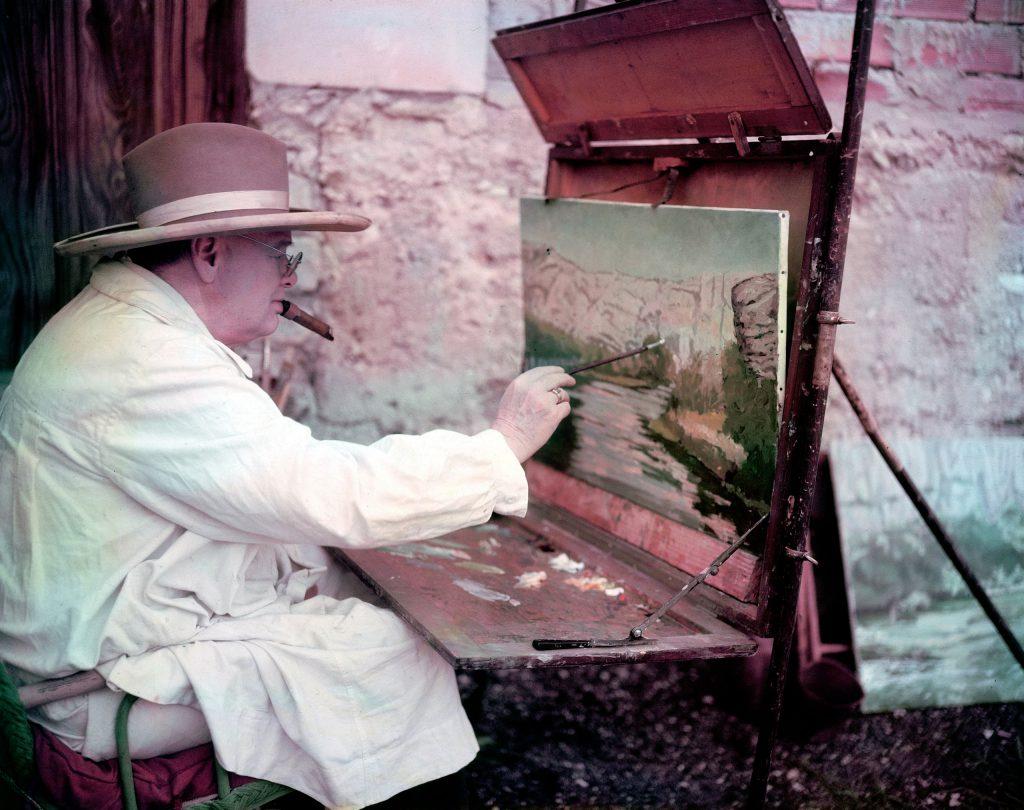 Winston Churchill painting in 1949
