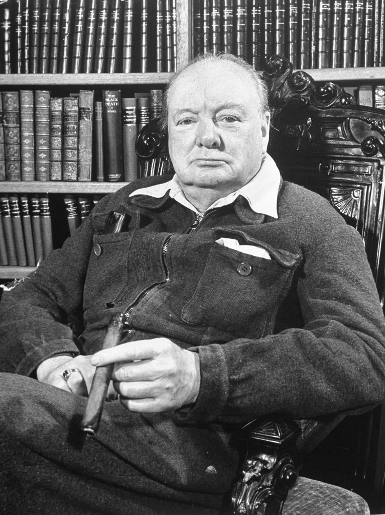 Winston Churchill seated in his study at Chartwell, Kent, in 1950.