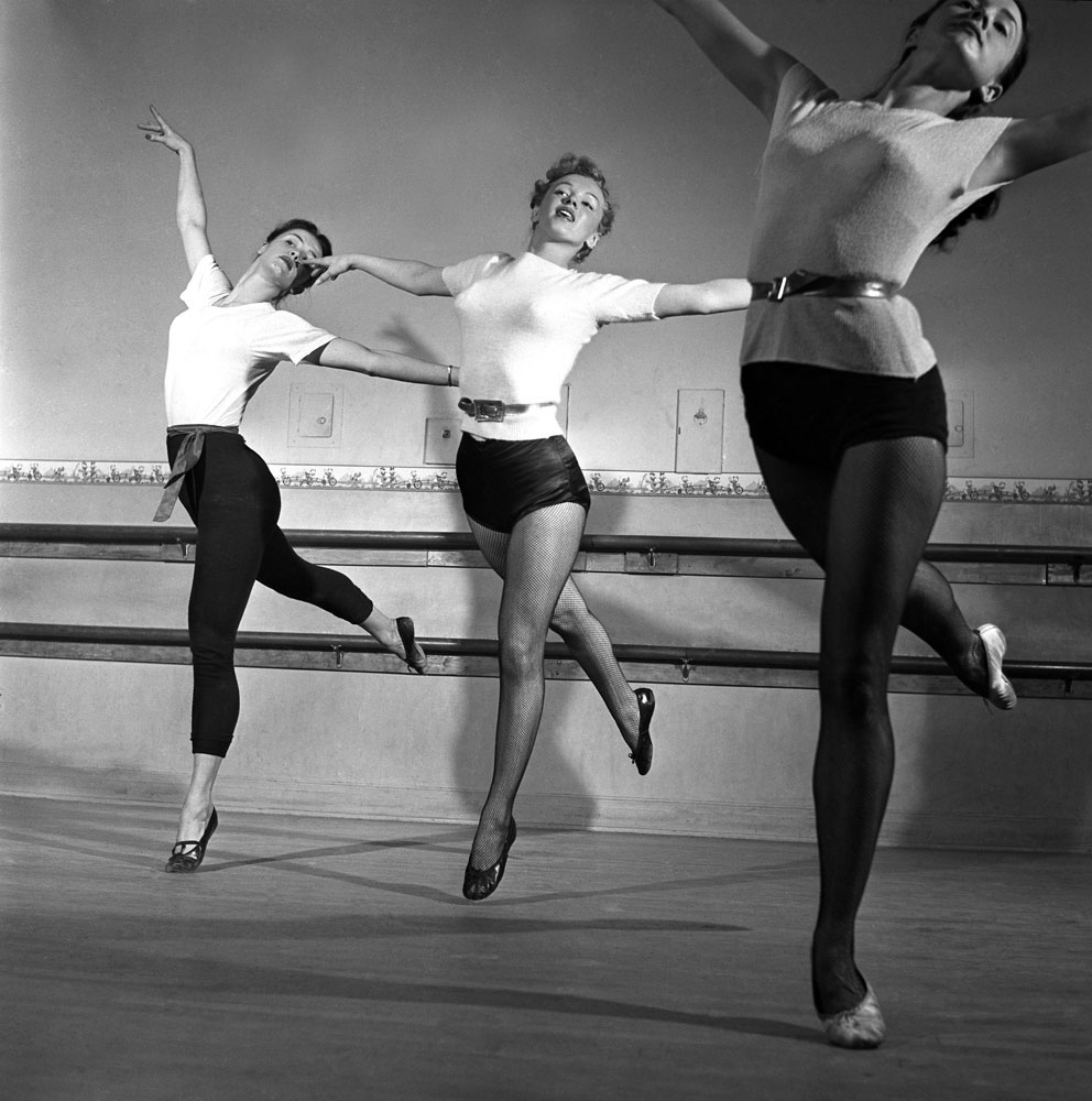 Marilyn Monroe, 22, takes dance lessons, Hollywood, 1949.