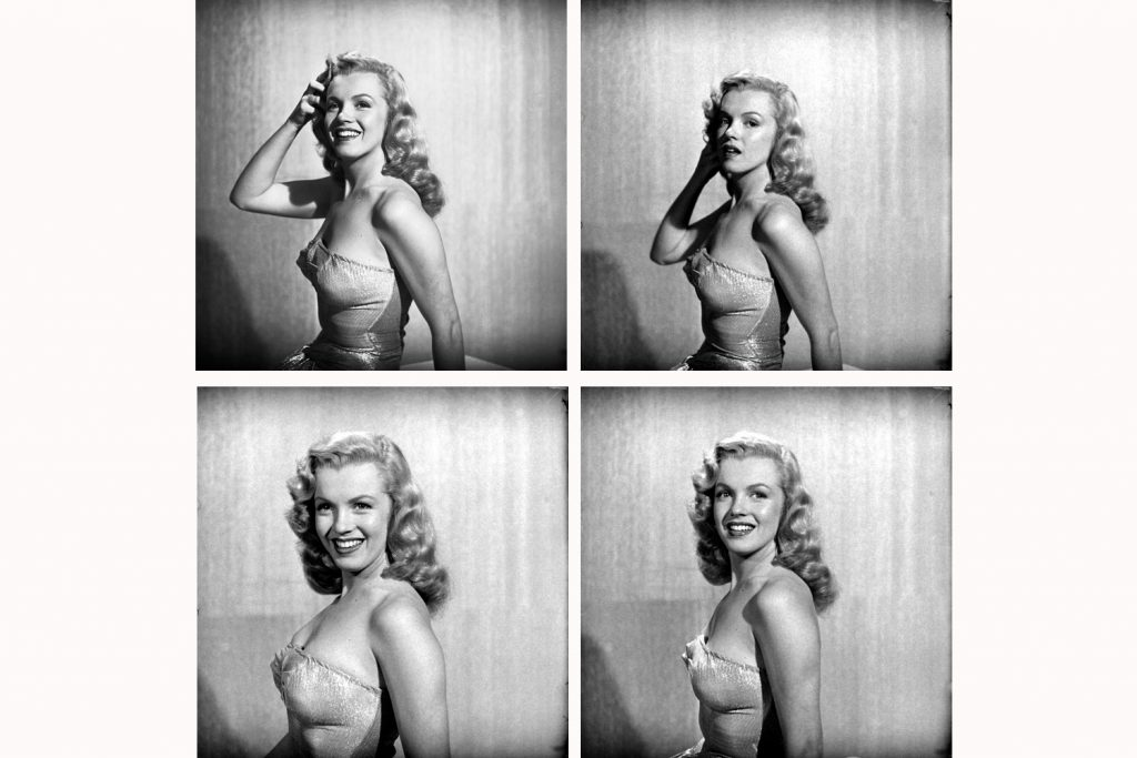 Four photographs of Marilyn Monroe at age 22, Hollywood, 1949.