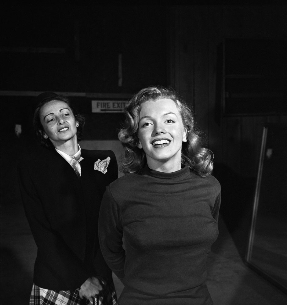 Marilyn Monroe, 22, takes lessons with acting coach, Natasha Lytess, Hollywood, 1949.