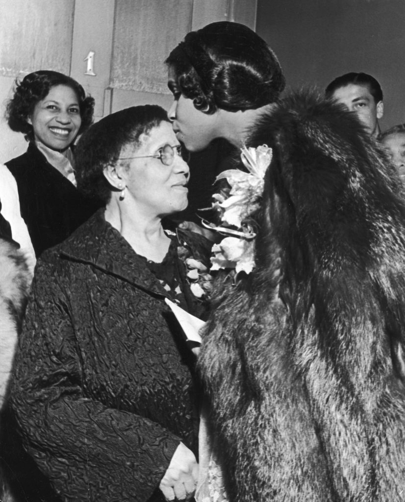 The great American contralto Marian Anderson kisses her mother after a concert in Philadelphia in 1937.