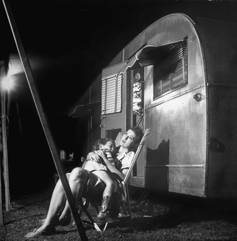 Burlesque star Gypsy Rose Lee holds her 4-year-old son, Erik Lee Kirkland, during a stopover in her traveling carnival show, Memphis, Tenn., 1949.
