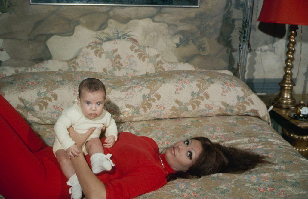 Sophia Loren with her son, Carlo Ponti, Jr., in 1969.