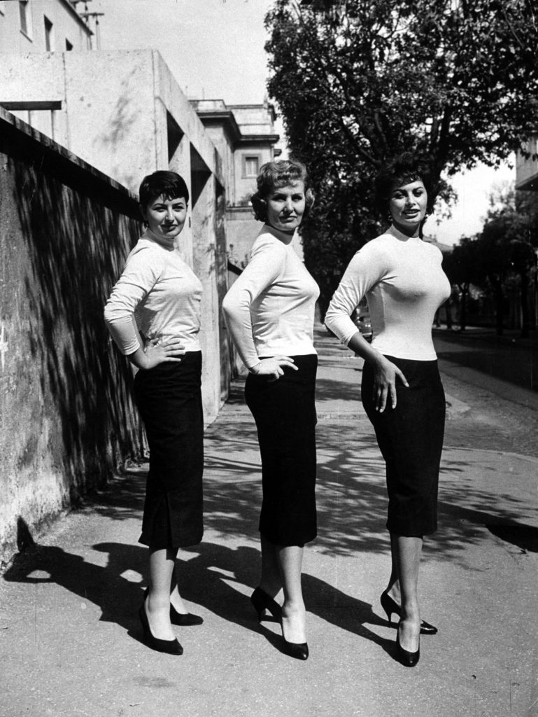 Sophia Loren (right) poses with her mother (center) and her sister, Maria, in 1957.