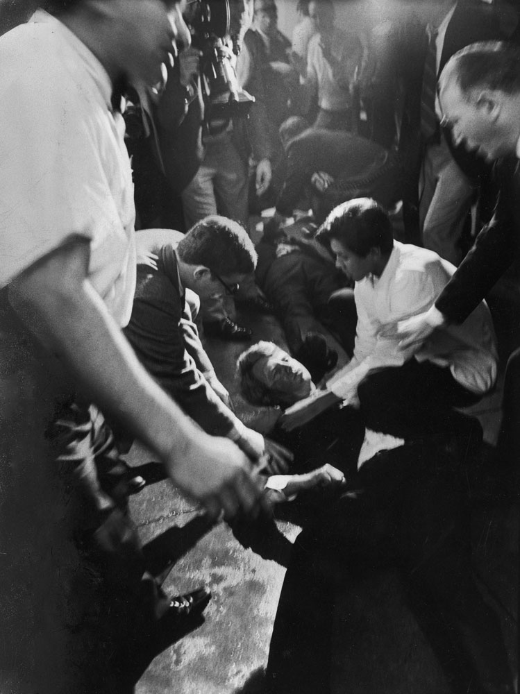 A mortally wounded Robert Kennedy on the floor of the kitchen at the Ambassador Hotel, June 1968.