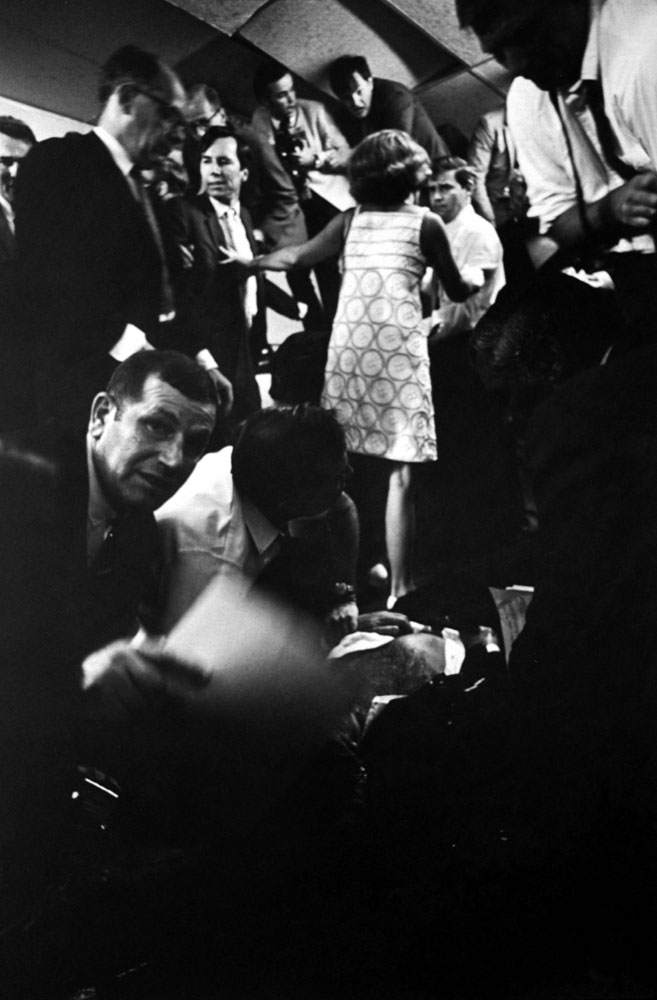 Mortally wounded Robert Kennedy on the floor of the kitchen at the Ambassador Hotel, June 1968.