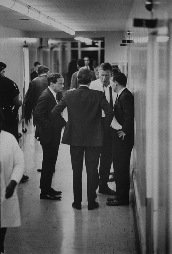 The scene at the Hospital of the Good Samaritan in Los Angeles after mortally wounded Robert Kennedy arrived there, June 1968.