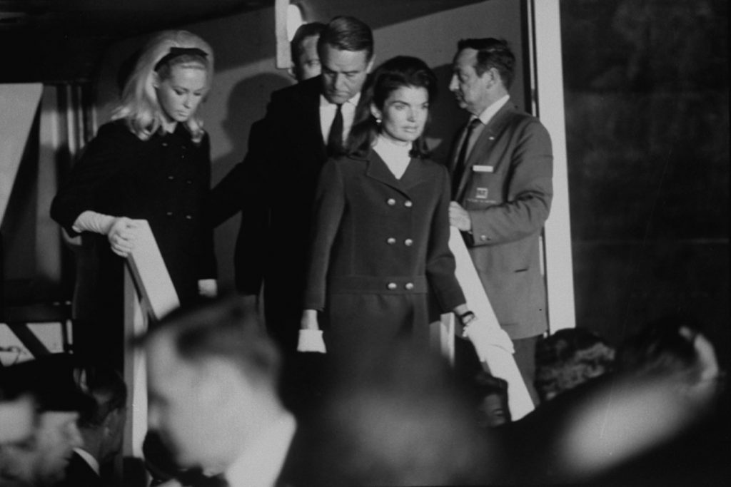 Mrs. Edward Kennedy (left), Jackie Kennedy (center) and Sargent Shriver (right), husband of Eunice Kennedy and brother-in-law to John, Robert and Edward Kennedy, after the assassination of RFK, Los Angeles, June 1968.