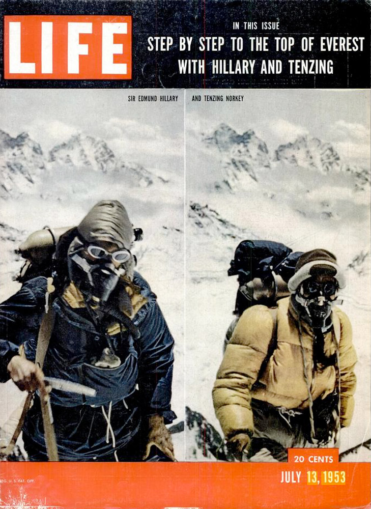Edmund Hillary and Tenzing Norgay summit Everest, May 1953