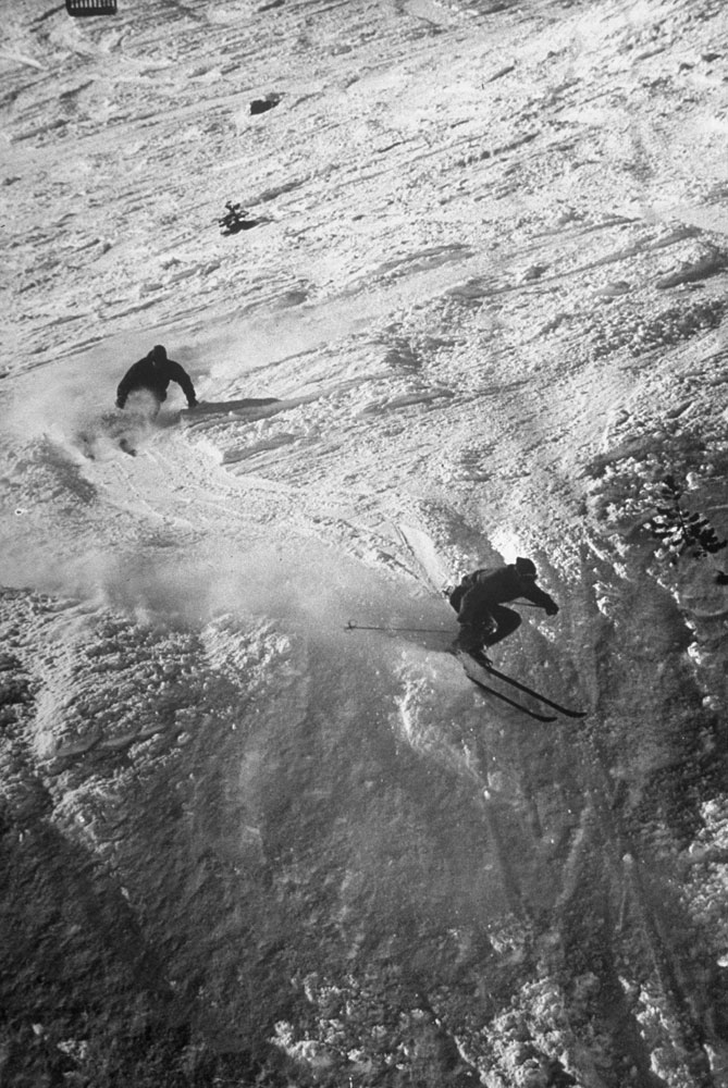 A skier trains for the Olympics, Squaw Valley, California, 1950.