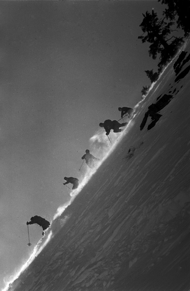 Skiers train for the 1952 Winter Olympics, Squaw Valley, California, 1950.