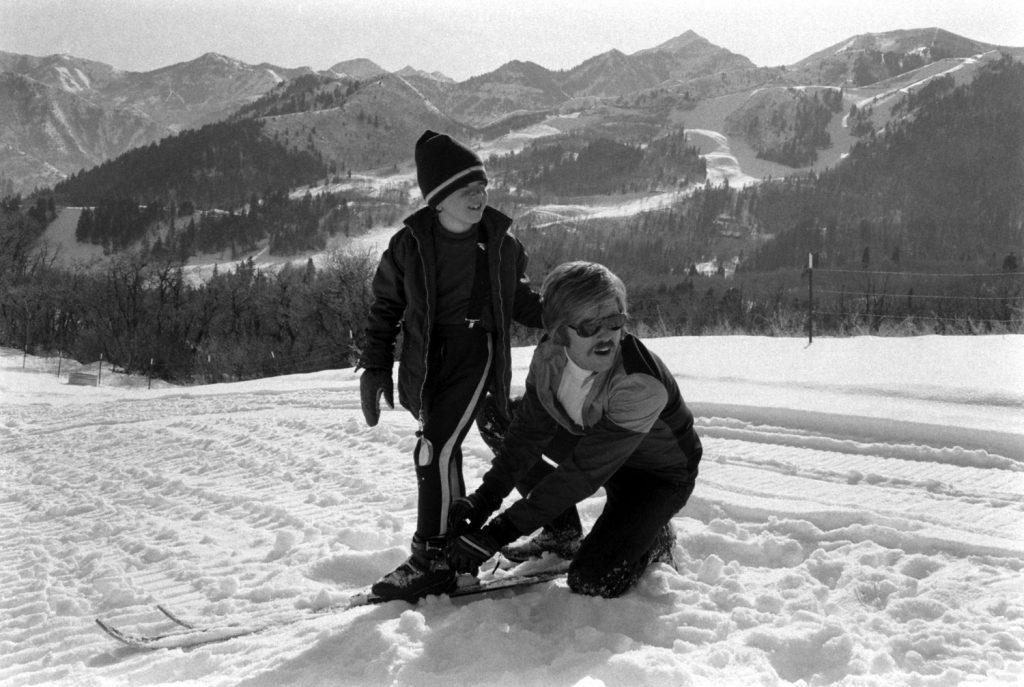 Robert Redford and his son, David, in Utah in 1970.