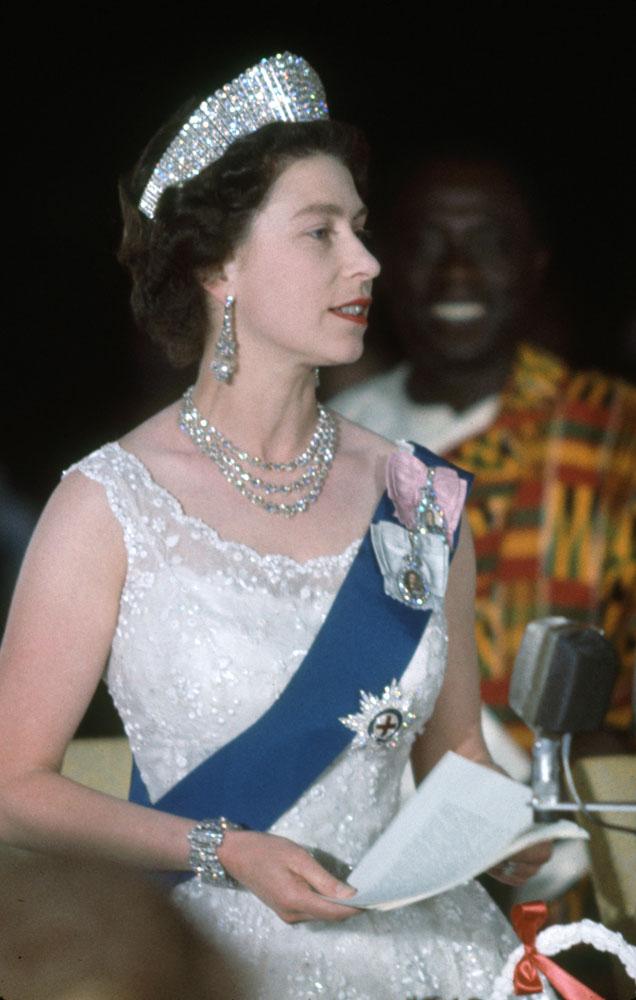 Queen Elizabeth II speaking at a State Dinner in Ghana, 1961.