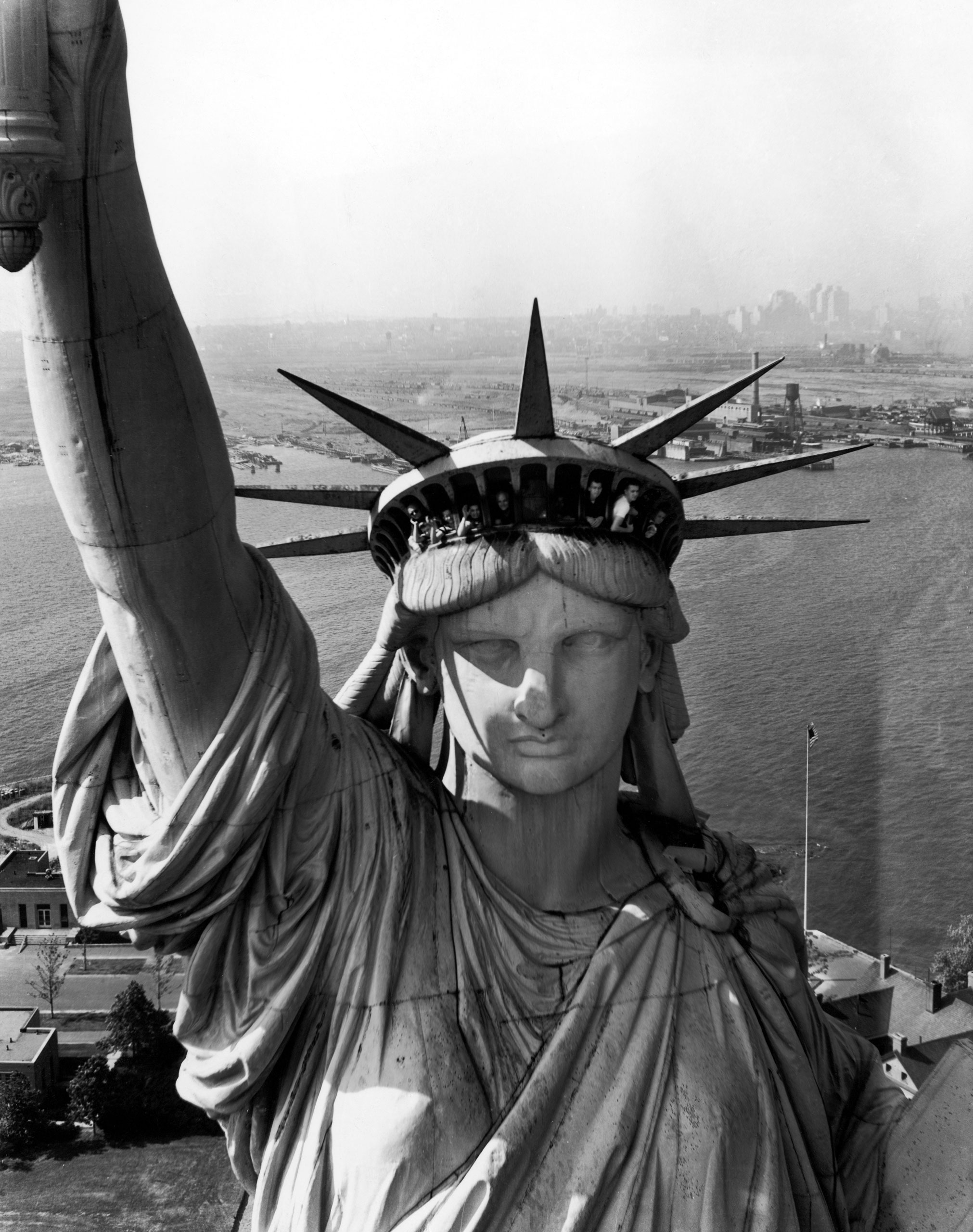 The Statue of Liberty, photographed from a helicopter, 1952.