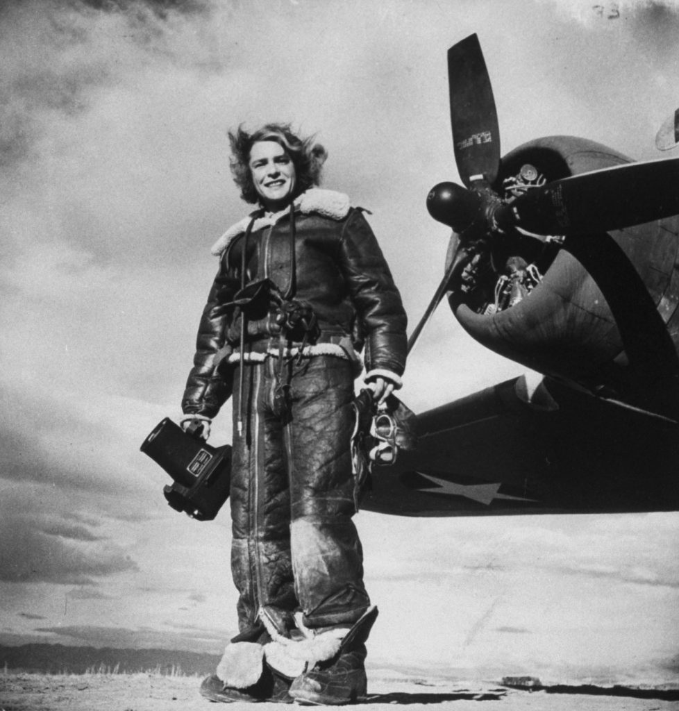 Margaret Bourke-White's favorite self-portrait, made with the U.S. 8th Air Force in 1943.
