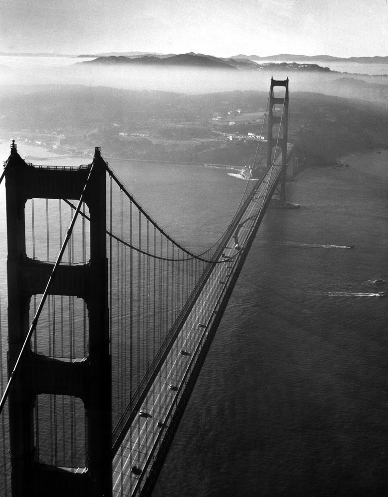Golden Gate Bridge, photographed from a helicopter, 1952.
