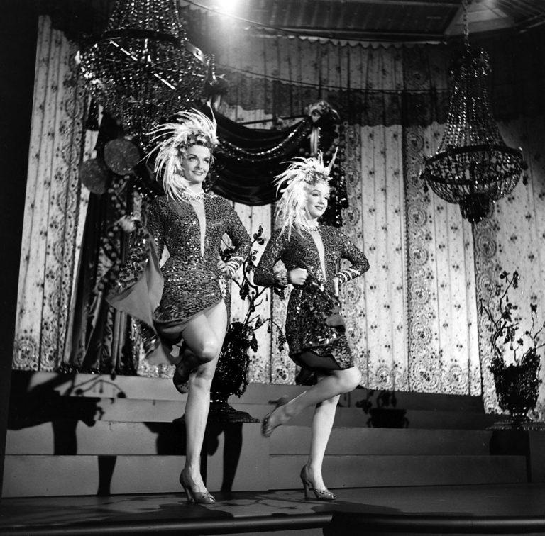 Marilyn Monroe, Jane Russell, on the set of Gentleman Prefer Blondes