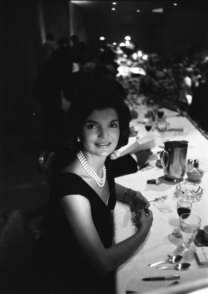 Jackie Kennedy during a campaign dinner, 1960.