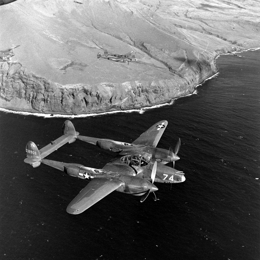 A P-38 Lightning above the Aleutian Islands, Alaska, 1943.