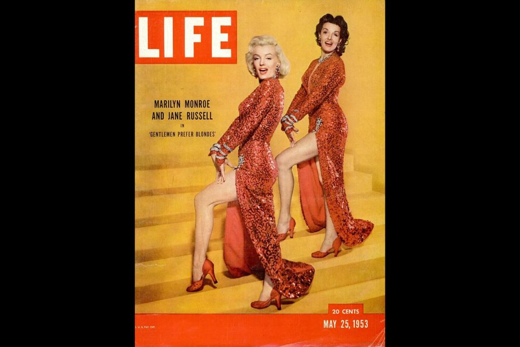 LIFE Magazine, May 25, 1953. Marilyn Monroe and Jane Russell, photographed by Ed Clark.