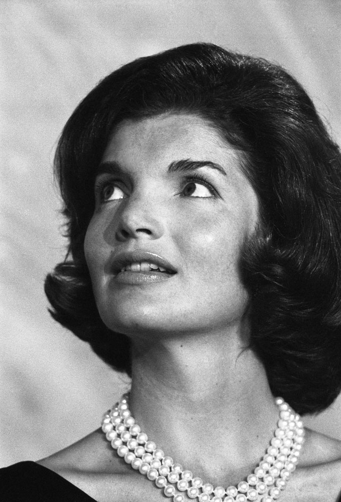 Jackie Kennedy at a formal dinner, 1960.