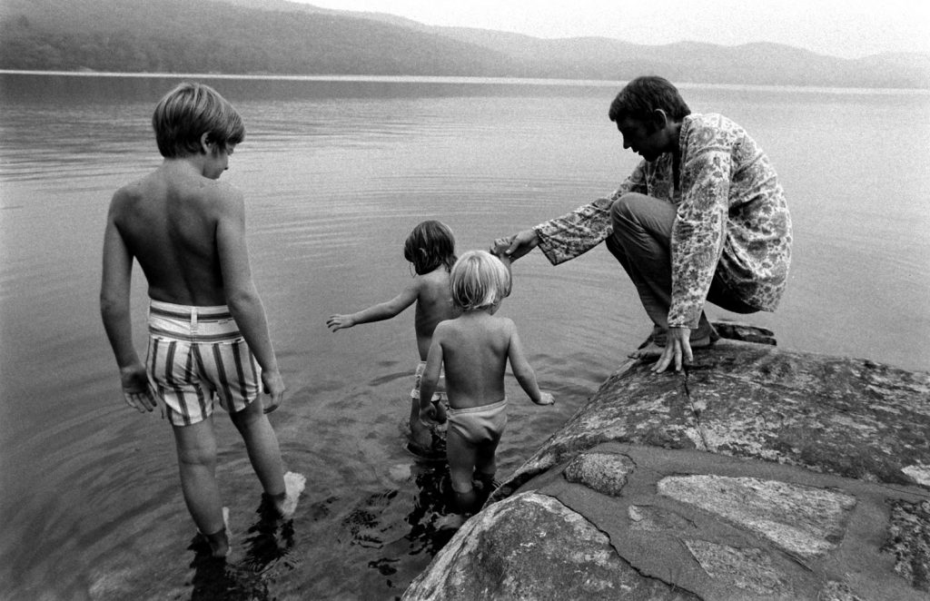 Donald Sutherland with his twin daughter and son, Rachel and Kiefer, and his stepson, Tom (left), in California, 1970.