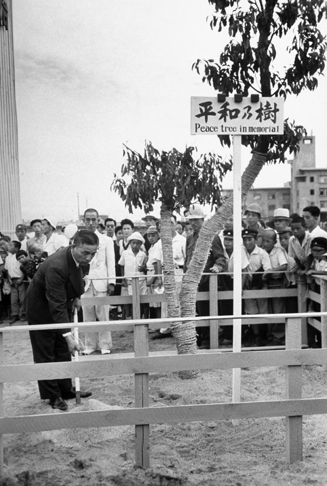 """A tree-planting ceremony during a """"Peace Festival"""" in Hiroshima Japan, on the two-year anniversary of the United States' August 1945 atomic attack on the city."""