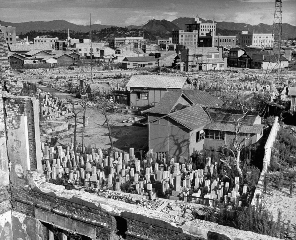 Small homes being built within a Hiroshima cemetery, 1947.