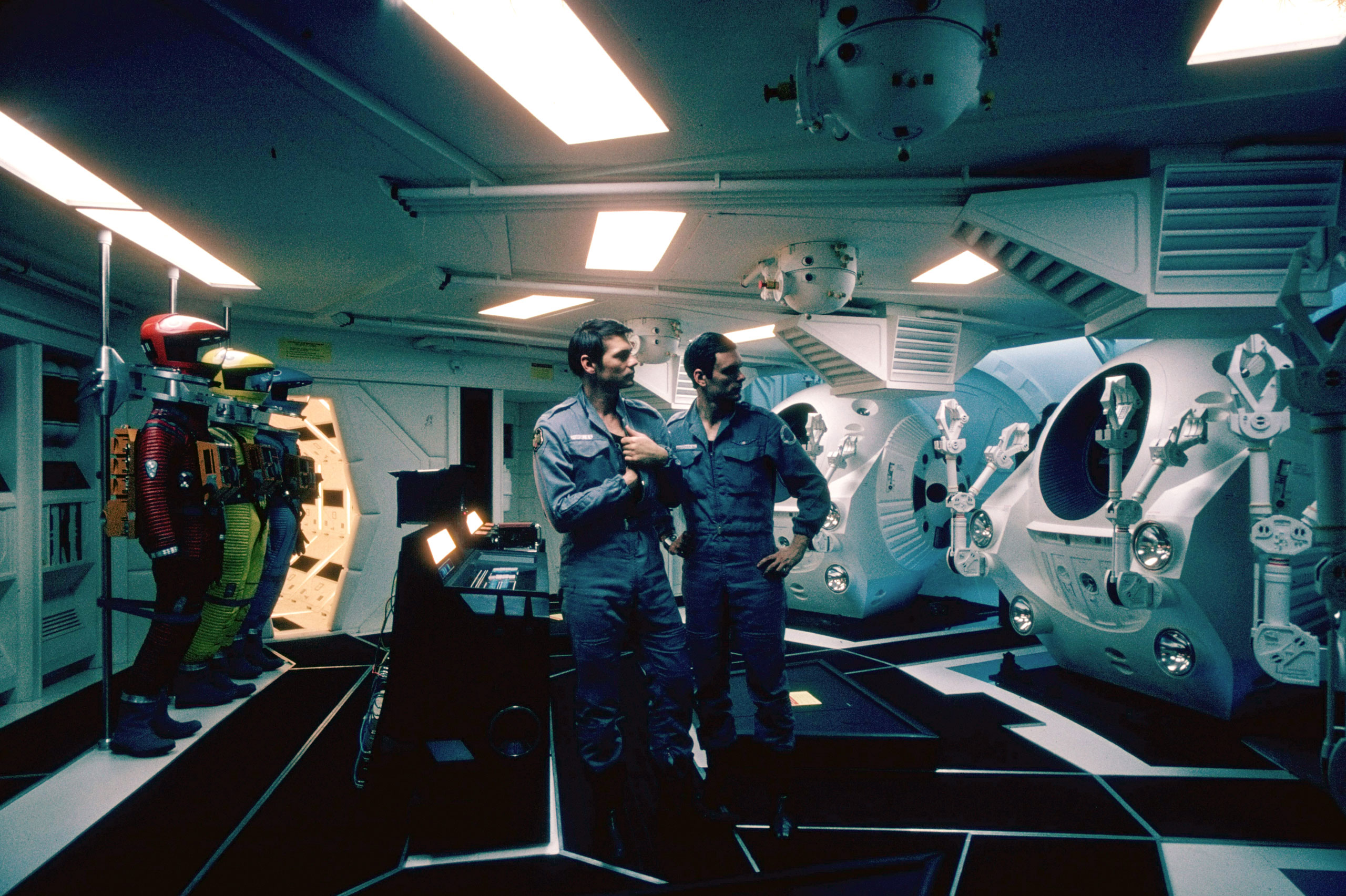 On the set of Stanley Kubrick's '2001: A Space Odyssey'