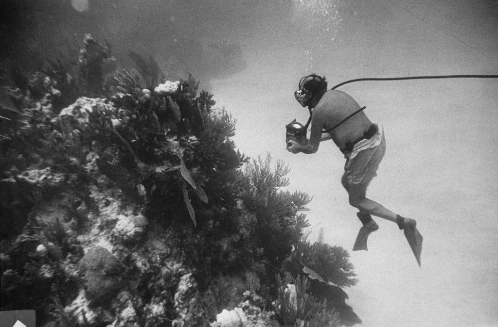 Fritz Goro on assignment off Bikini Atoll, shooting photographs for LIFE magazine, 1953.