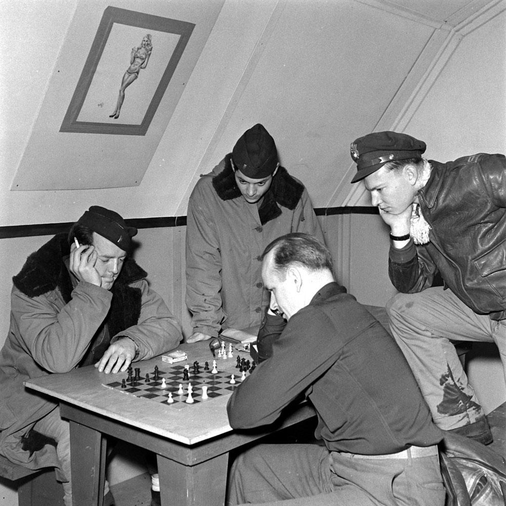 Playing chess, Adak Island, Aleutian Campaign, Alaska, 1943.